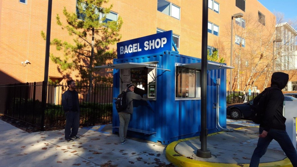 Portable shipping container concession stand pop up bagel shop
