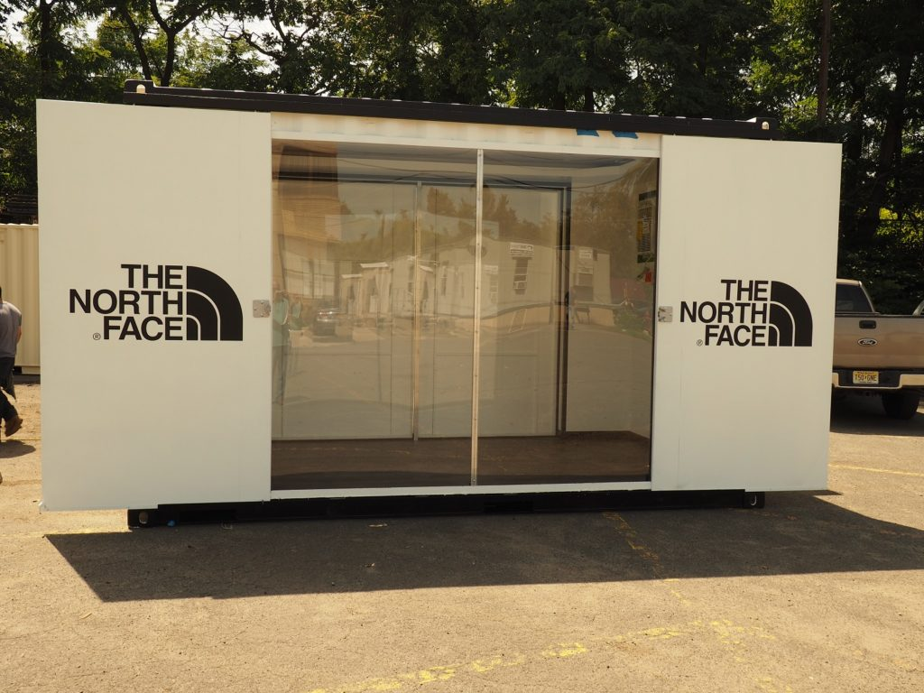 Shipping Container Northface pop up shop